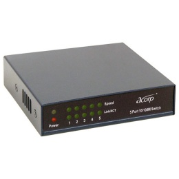 Концентратор Acorp HUB  5-port HU5D Metal Case  <10/100Mbps 5xUTP>